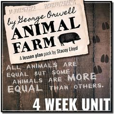 Animal Farm by George Orwell: Complete Teaching Pack {Lesson Plans & Activities} Teaching Packs, Teaching Tools, Teaching Resources, Middle School Literature, English Literature, English Units, English Class, Animal Farm George Orwell, Farm Lessons
