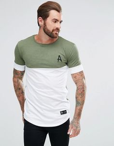Aces Couture Muscle T-Shirt In Khaki With White Panel - Green Outfits Casual, Mode Outfits, T Shirt Original, T Shirt Noir, Muscle T Shirts, Latest Mens Fashion, Fashion Online, Camisa Polo, Polo T Shirts