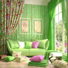 Цвет зелени - основной оттенок в интерьере
