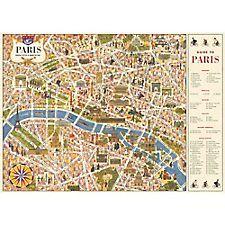 Cavallini Paris Map 4 Wrapping Paper