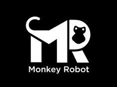 """Monkey Robot's logo : a """"M"""", a """"R"""" and a Monkey."""