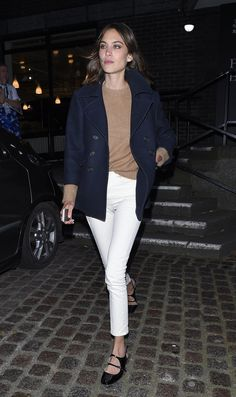 Fall style | Alexa Chung channeled the J.Crew look with a navy blazer, white pants, and beige sweater.