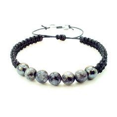 men's shamballa beaded handmade bracelet gift LABRADORITE & HEMATITE STONE beads #Handmade #Shamballa