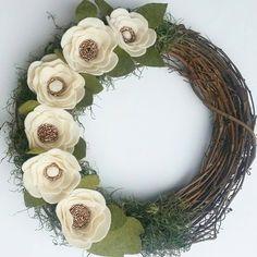 Rustic flower wreath Custom Wreath Wreath by HomemadeCreationsVG
