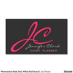 Watermelon Pink, Red, White And Gray Event Planner Double-Sided Standard Business Cards (Pack Of 100)