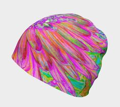 Beanie Hat, Colorful Rainbow Decorative Dahlia Explosion Beanies for Women Beanies, Beanie Hats, Bamboo Rayon, Bad Hair, Sell On Etsy, Blue Backgrounds, Dahlia, Hats For Women, Printing On Fabric