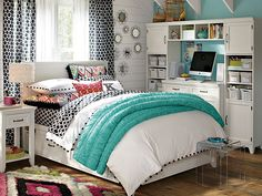 PBteen Ikat Dot Hampton Bedroom on pbteen.com Rachel likes the feel of the desk right by the bed. Likes the blue and white a palette. saves space.