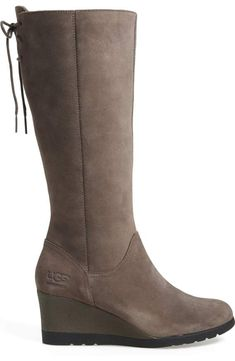 Knee High Wedge Boots, Wedge Heels, Grey Wedges, Lace Bows, Buy Shoes, Ugg Boots, Riding Boots, Uggs, Winter Fashion