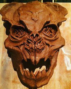 #artwork #art #skull #workprogress #movie #makeupfx #sculpey #cesarperlop #humansandmonsters #horror #monster #dummy #clay