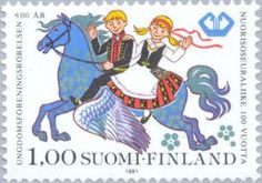 ◇Finland  1981    Boy and Girl riding on Pegasus