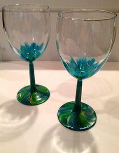 Aqua Flower Wine Glasses
