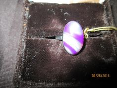 Dainty Purple Striped Botswana Agate Silver Ring     BA-155 - Birthstones and More