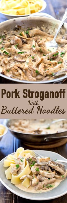 This pork stroganoff is the best kind of comfort food! Tender pork, cooked with mushrooms and onions in a creamy sauce. It's delicious, filling and completely made with fresh ingredients! (No cans of soup here!!!) Recipe from Sprinkles and Sprouts | Delicious food for easy entertaining.
