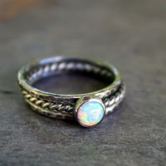 Opal Stacking Ring Set of Three by LoreleyJewelry on Etsy, $47.00
