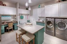 Fun multi-purpose laundry room with wrapping center and room for crafts - shared by @revashelf during KBtribechat.