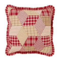 "Our Breckenridge Ruffled Quilted Pillow 16"" Filled is a pretty diamond pattern in coordinating fabrics. Use this in your living room on a couch or chair to bring in fun color and primitive style. https://www.primitivestarquiltshop.com/products/breckenridge-ruffled-quilted-pillow-16-filled #primitivecountrybedroomsbeddingandaccessories"