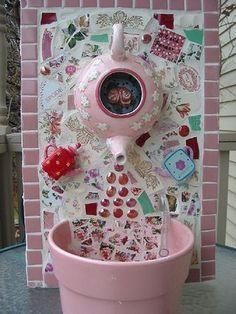 Tea pot fountain.  Cute mosaic for a special someone who loves tea.
