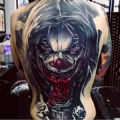 Badass ink. #Inked #inkedmag #tattoo #clown #Idea #back #crazy #colorful