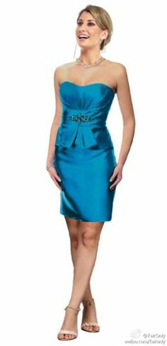New Teal Formal Strapless Sash Bridesmaid Dress Party Gown Size:6,8,10,12,14,16