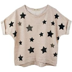 Sweatshirt stars styling ❤ liked on Polyvore featuring tops, t-shirts, shirts, blusas, pink t shirt, star t shirt, pink shirt, pink top e star print t shirt