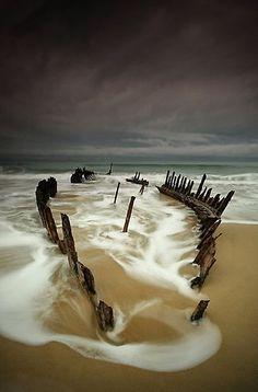 photos of boat wrecked on beach | Ship Wreck at Dicky Beach - ueensland Australia | Wanderlust