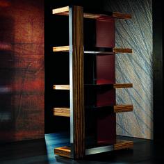 Zebrano Wood & Leather Shelving Display Unit | Taylor Llorente Furniture