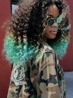 big hair aqua black woc poc pretty beautiful shades sunglasses pink lipstick dip-dyed