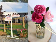 wedding signs pink wood flowers
