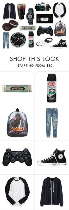"""""""I'm a frog."""" by vraedorian ❤ liked on Polyvore featuring Miss Bibi, OneTeaspoon, Sony, Converse, Gap, Casio, Explorer's Press, men's fashion and menswear"""
