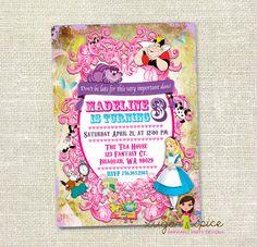 Alice in Wonderland, Tea Party Custom Birthday Invitation - Digital File, You print - 5x7. $12.00, via Etsy.