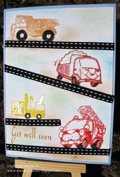 Get Well card for a young boy - see details here: http://kiwimeskreations.blogspot.co.nz/2013/11/get-well-for-my-grandson.html