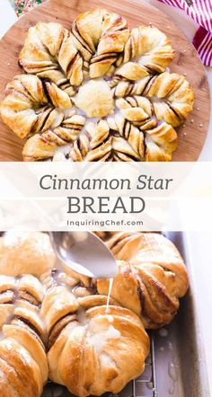 Cinnamon Star Bread With layers of cinnamon sugar and a sweet glaze, this cinnamon star pull-apart bread is a festive alternative to classic cinnamon rolls. Christmas Bread, Christmas Breakfast, Christmas Baking, Cozy Christmas, Cinnamon Star Bread Recipe, Cinnamon Rolls, Cinnamon Pull Apart Bread, Holiday Desserts, Holiday Recipes