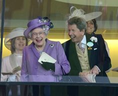 Nothing seems to get Her Majesty's blood pumping like the thrill of a close call horse race! In fact, here's Queen Elizabeth II with her thoroughbread horse advisor John Warren cheering on her horse 'Estimate' to win The Gold Cup on Ladies Day at Royal Ascot. Well I do say!