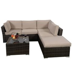 AmazonSmile : Giantex 4pc Patio Sectional Furniture Pe Wicker Rattan Sofa Set Deck Couch Outdoor : Patio, Lawn & Garden