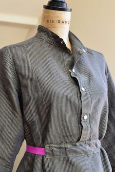 Railroad Stripe Shirtwaist Dress