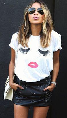 White Eyelash Lips Print Short Sleeve Tee