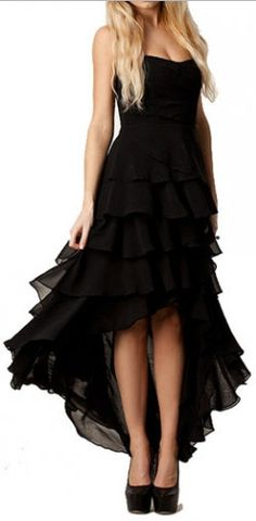 Solid Black Ruffle Decorated High Low Dress