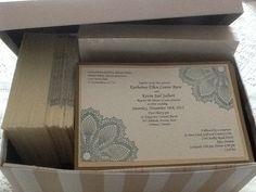 Unique hand stamped wedding invitations by CreativeWeddingInvit, $7.00