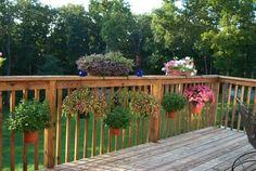 Holder For Deck Balusters - Fits Flower Pots - Meric Products - Flower Pot Bracket - 2 Deck Balusters, Deck Railing Planters, Patio Roof, Patio Deck Designs, Porch Designs, Cozy Backyard, Backyard Decks, Pool Decks, Deck Landscaping