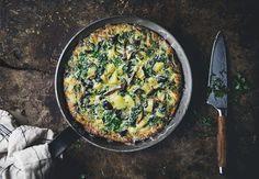 Kale, mushroom and p