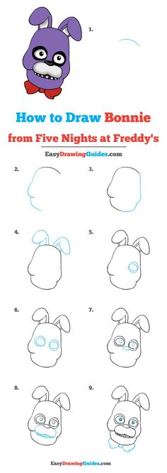 Learn to draw Bonnie from Five Nights at Freddy's. This step-by-step tutorial makes it easy. Kids and beginners alike can now draw a great looking Bonnie from Five Nights at Freddy's. Fnaf Drawings, Easy Drawings, Animal Drawings, Drawing Sketches, Pencil Drawings, Drawing Cartoon Characters, Character Drawing, Blending Colored Pencils, Art Sets For Kids