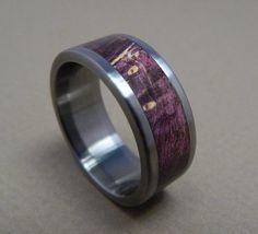 Titanium Ring Titanium and Purple Box Elder Wood by RobandLean, $145.00