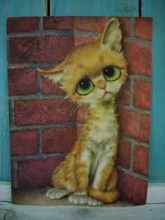 Big Eye Sad Alley Cat by Gig~Image © (Etsy) I still have this. Remember when you could get them at Kroger in the Margaret Kane, Keane Big Eyes, Image Chat, Amor Animal, Alley Cat, Here Kitty Kitty, Eye Art, Cat Drawing, Art Plastique