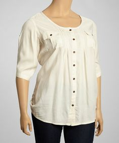 Another great find on #zulily! Crème Button-Up Top - Plus by Sass & Sassy #zulilyfinds great top for spring an summer this item is selling out quickly at 13.00 I hope they restock or start a wait list