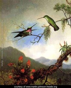 Amethyst Hummingbirds and Red Flowers - Martin Johnson Heade   From his campaign to paint hummingbirds in Brazil, c. 1864  www.martin-johnson-heade.org