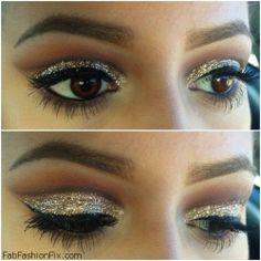 Golden glitter smokey eyes with eyeliner