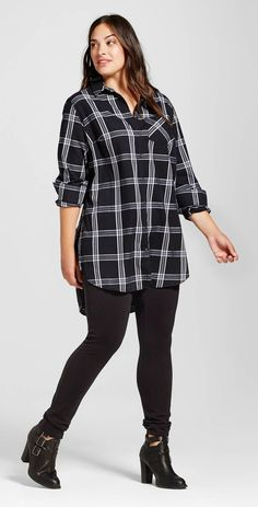 Plus Size Plaid Button Down Tunic (Fall Top Plus Size)