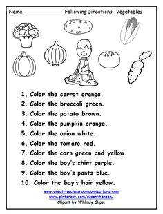 Free Following Directions page provides practice using color words and vegetable names. Other free following directions worksheets are available at pinterest.com/susankhansen/