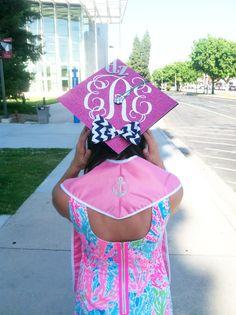 Monogrammed graduation cap
