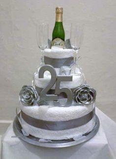 25th Anniversary Towel Cake on Etsy, $100.00